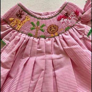 Smocked Angel Dress - Zoo Theme - NWT
